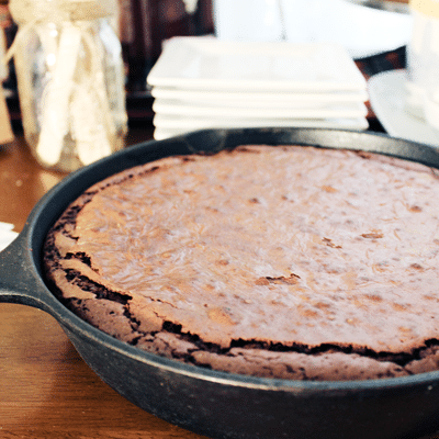 skillet brownie in cast-iron skillet