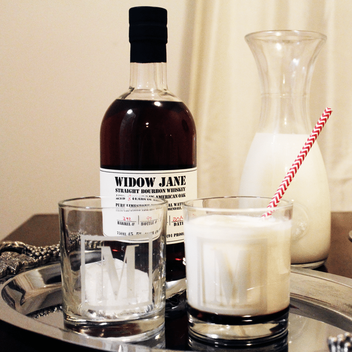 white Russian recipe in high ball glass on silver tray