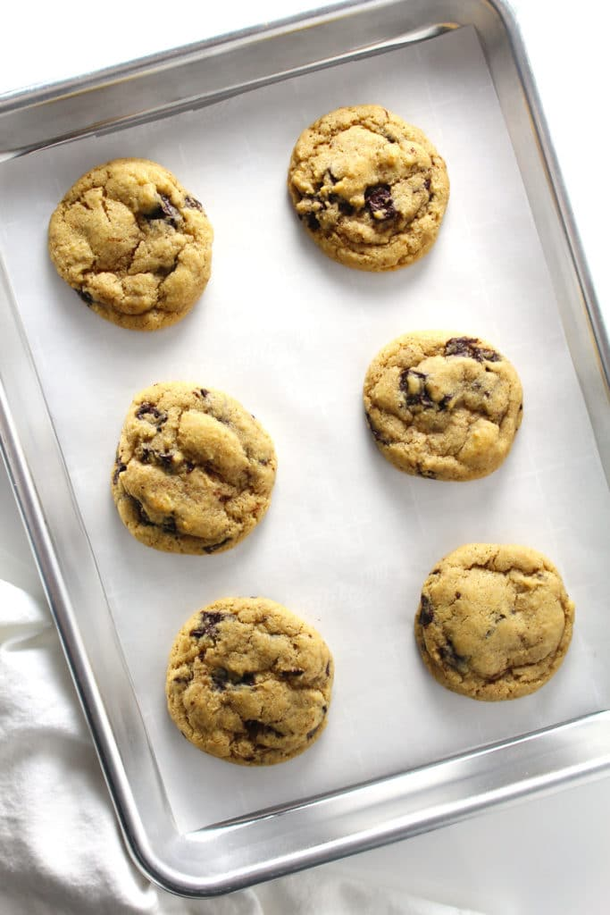 chocolate chip cookies on a rimmed baking sheet