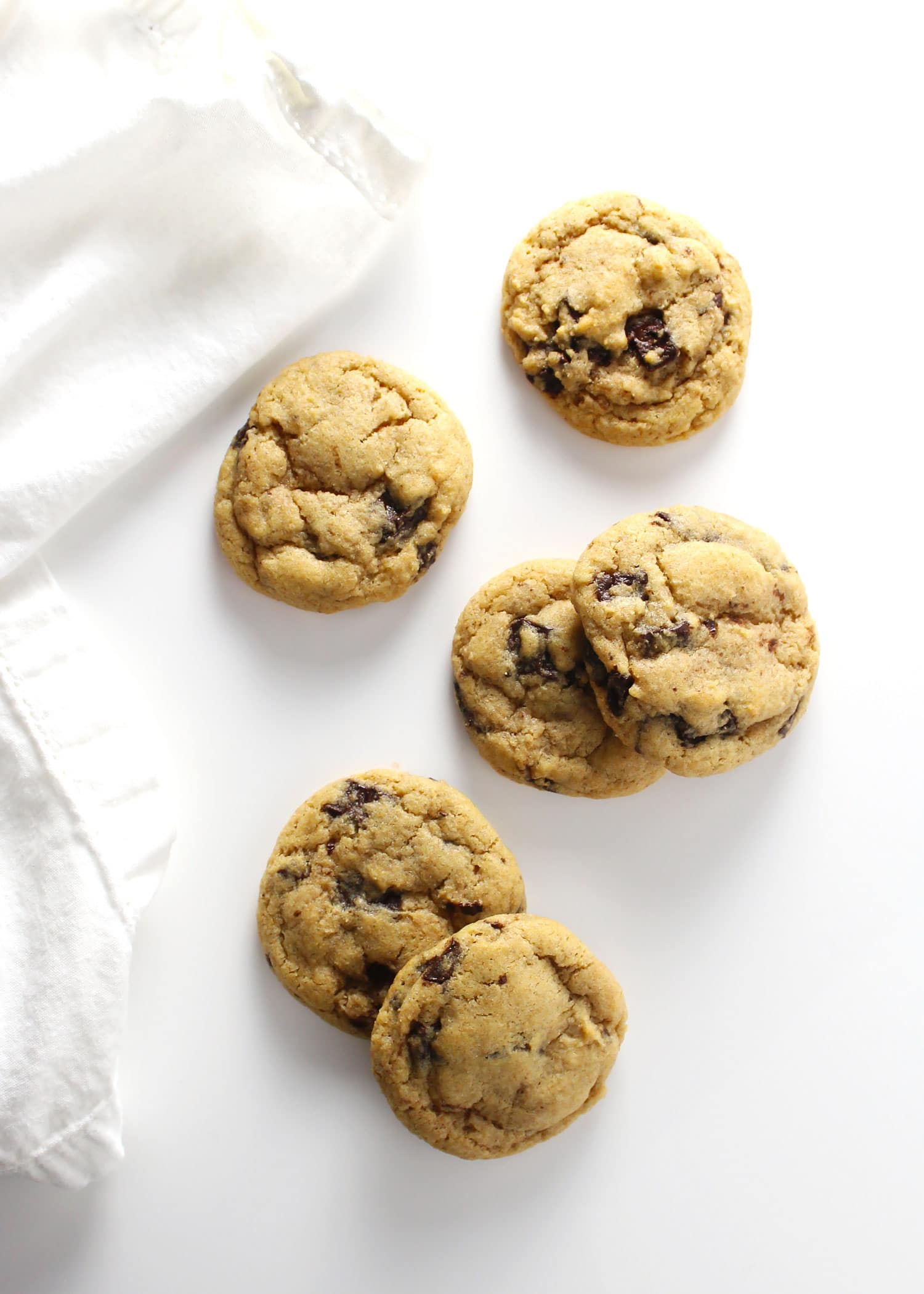 whole wheat chocolate chip cookies next to white napkin
