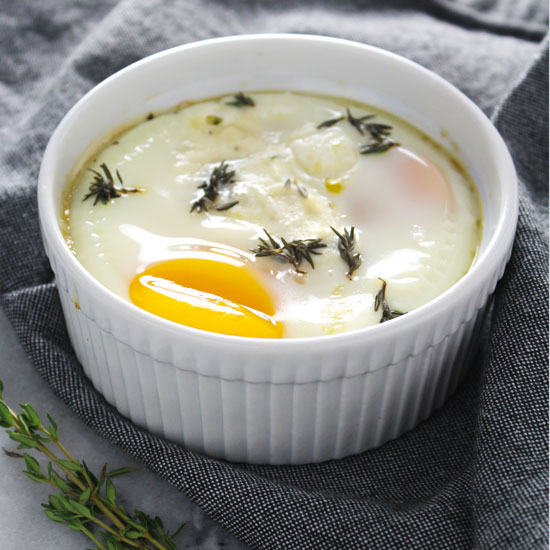 Baked Eggs with Ricotta & Thyme