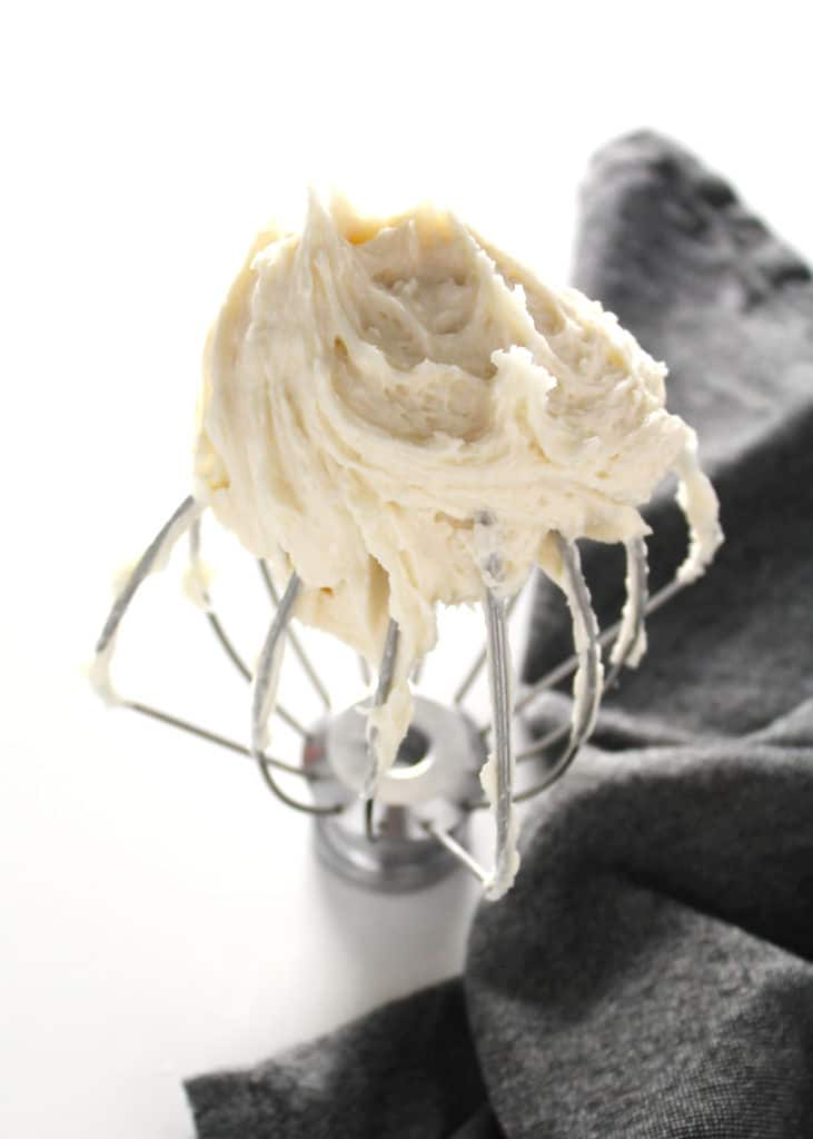 basic buttercream frosting on electric whisk attachment