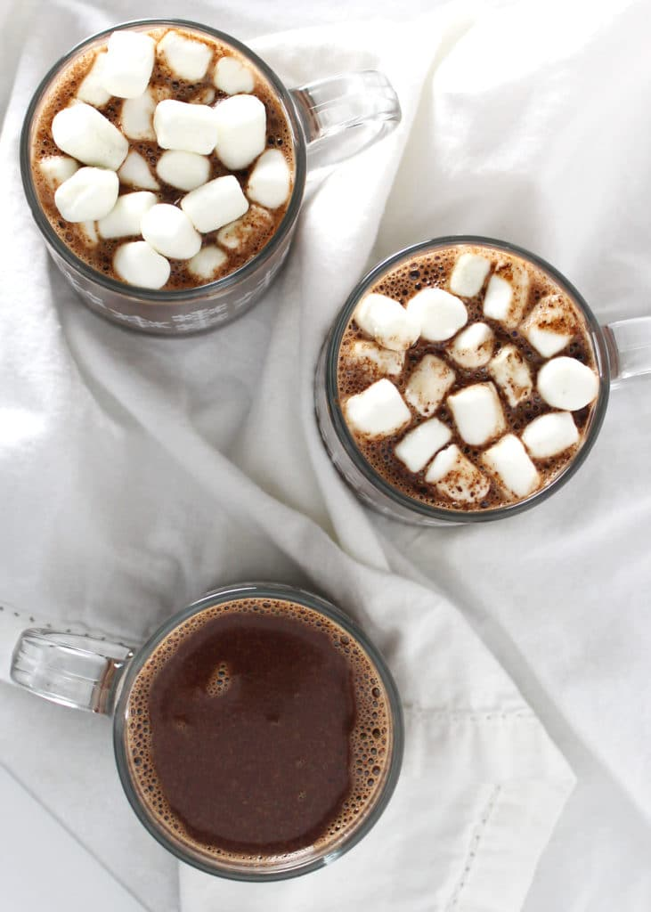 birds eye view of classic homemade hot chocolate topped with marshmallows