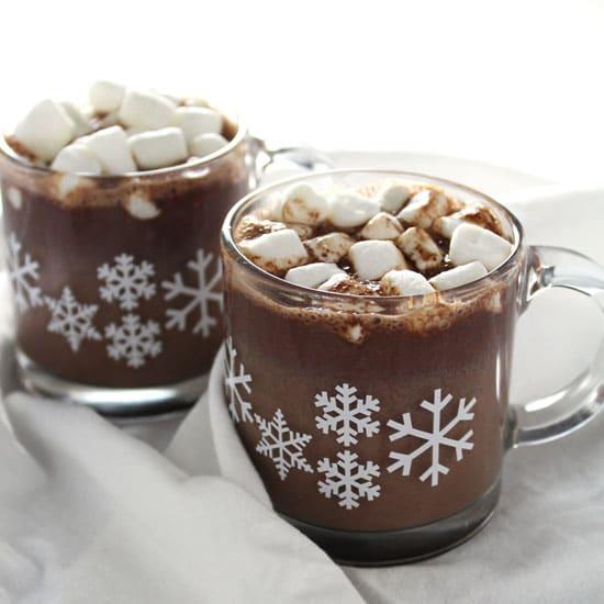 classic homemade hot chocolate in snowflake glass mugs