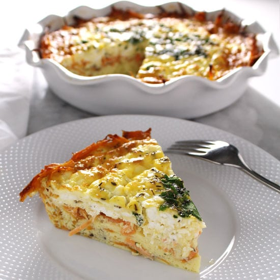 Goat Cheese & Herb Quiche with Sweet Potato Crust
