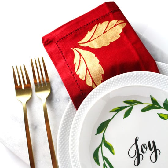 Gold Painted Holiday Napkins