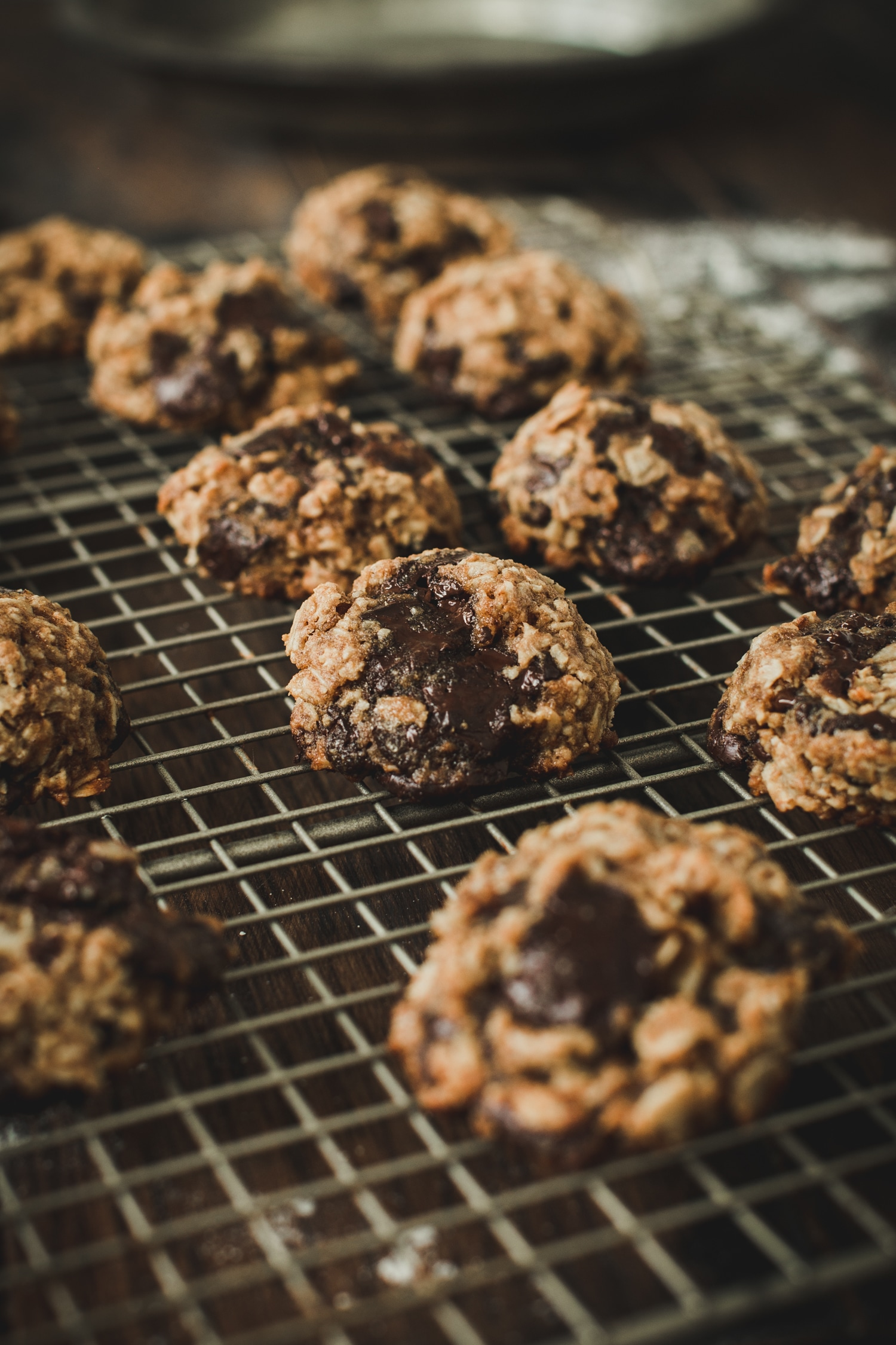 oatmeal cookies with chocolate chips on wire rack