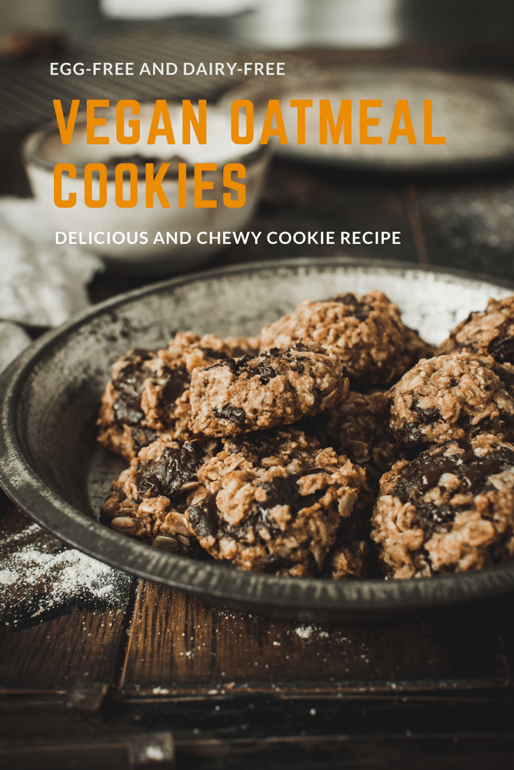 Chocolate chip oatmeal cookies in a metal pie tin.