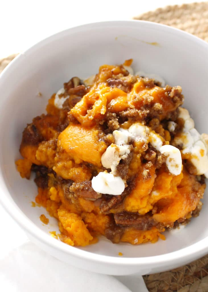 sweet potato casserole in white bowl