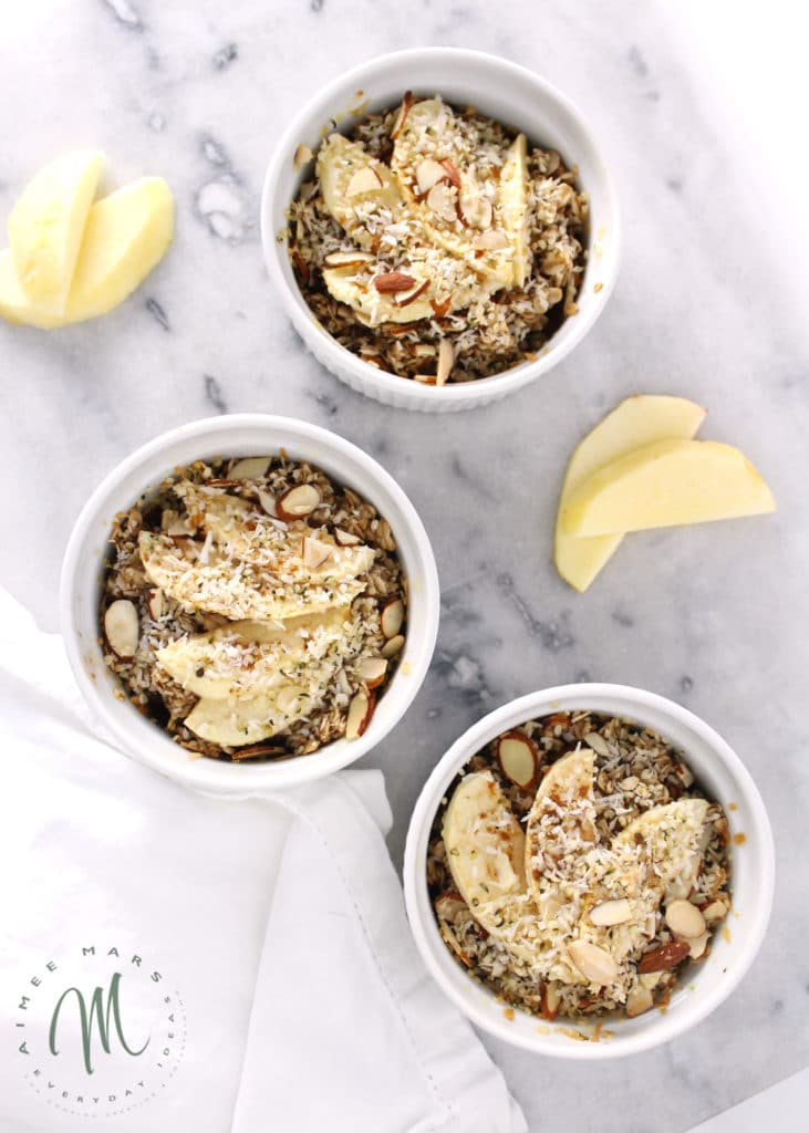 apple cinnamon baked oatmeal in white ramekin bowls