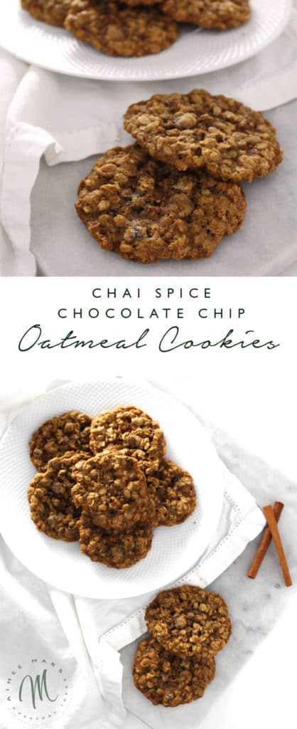 The chai spice gives this Chocolate Chip Oatmeal Cookie recipe the perfect taste and makes it pair all that much better with your tea of coffee.