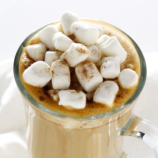 egg nog latte with marshmallows in glass mug