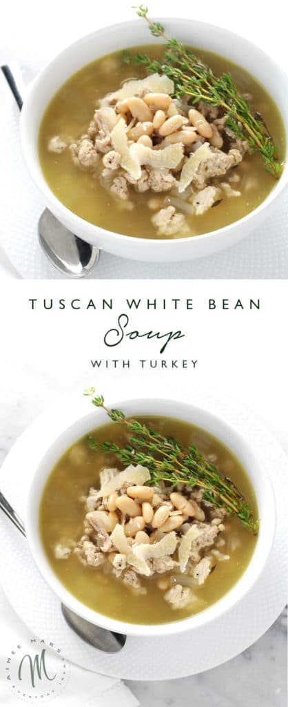 If you're looking for an easy weeknight meal this Tuscan White Bean Soup with Turkey is your answer. Not only does it taste great but works as a main dish.