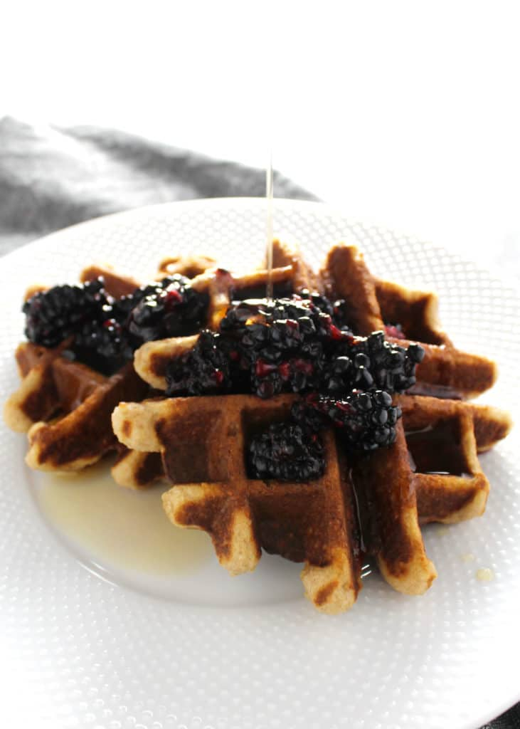 These gluten free Almond Flour Coconut Waffles are a perfectly healthy option for brunch or breakfast and the Blackberry Jam the perfect compliment.