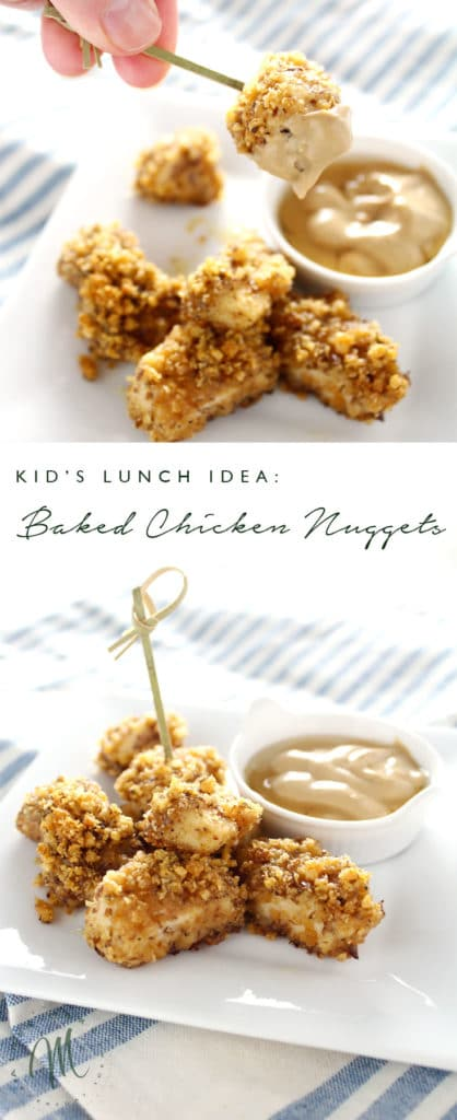 These Parmesan Baked Chicken Nuggets are a healthy option for your kid's lunch or dinner. Made of wholesome ingredients they're a dish everyone will enjoy.