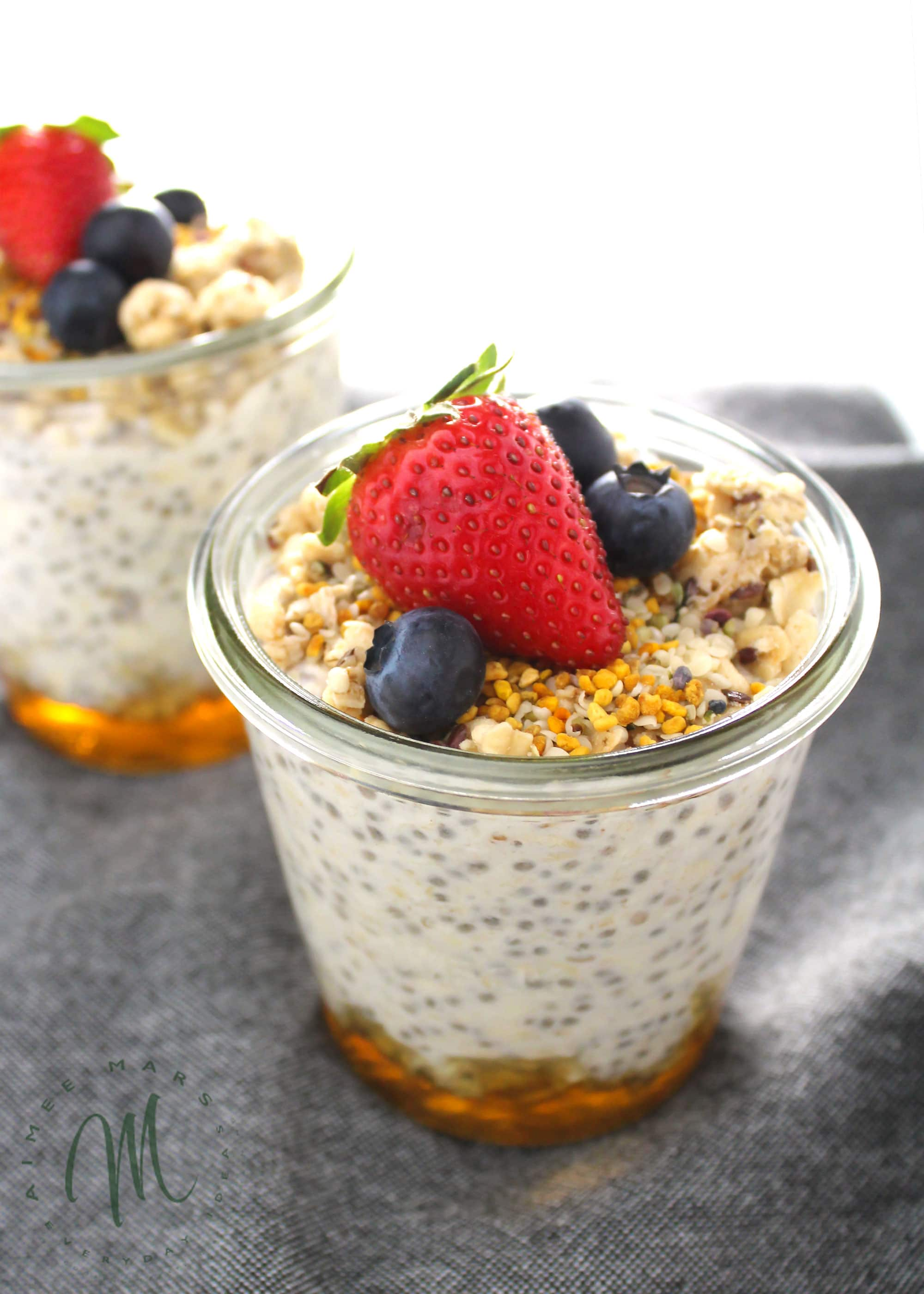 basic overnight oats in glass jar topped with bee pollen