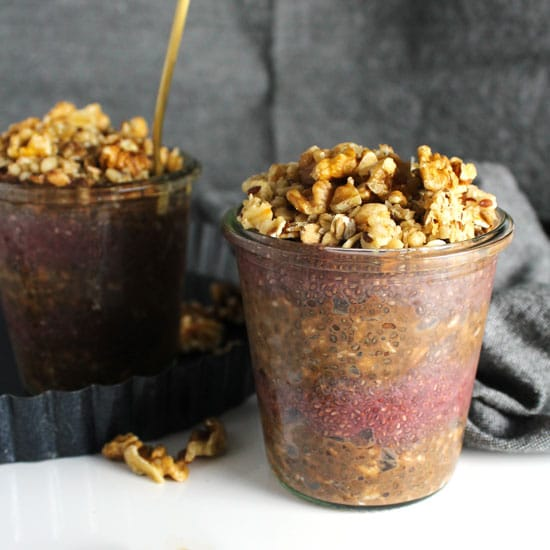 Chocolate Overnight Oats with Strawberry Chia Jam
