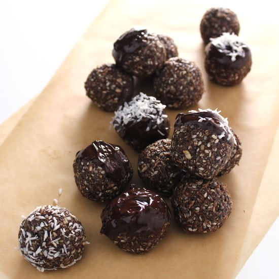 These chocolate and coconut energy bites are packed with protein and perfect for a little afternoon pick-me-up or after gym snack.
