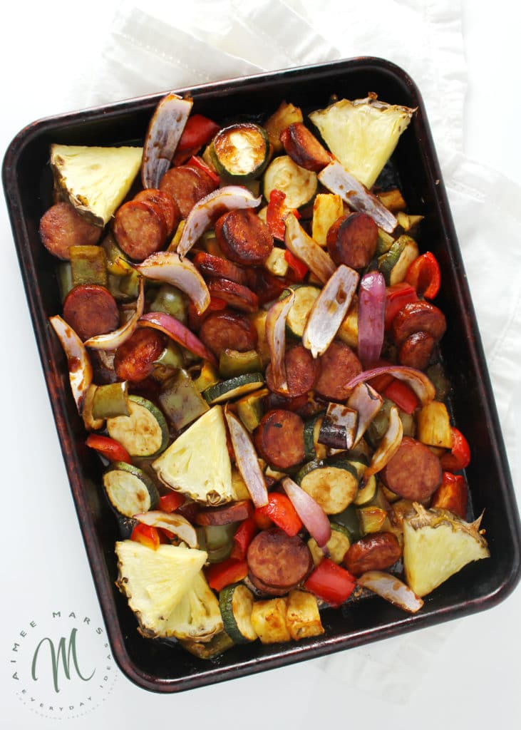 Hawaiian Barbecue Sheet Pan Dinner cooked ingredients on  rimmed baking sheet