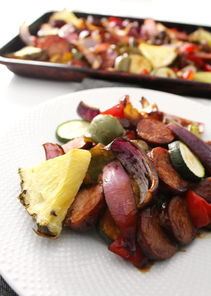 Hawaiian Sheet Pan dinner on white plate