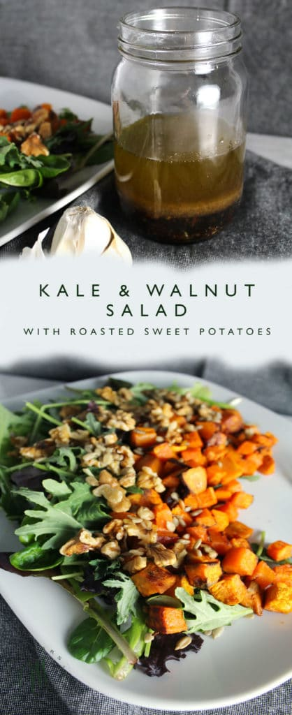 This Kale & Walnut Salad with Roasted Sweet Potatoes is a simple salad with topped with an explosion of flavor dressing.