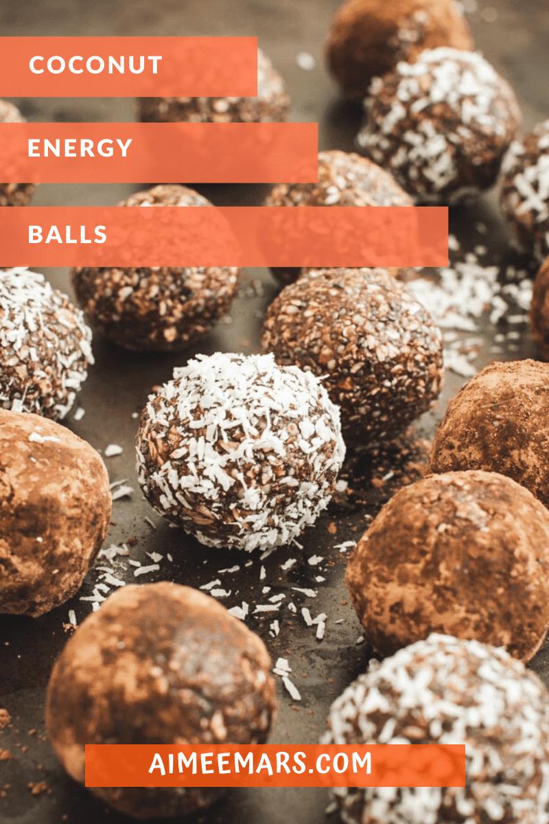 Coconut energy bites with orange title.