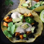 Black Bean & Sweet Potato Tacos with Dairy Free Lime Cream are a meatless, easy, and lactose-free weeknight meal idea that is perfect for the entire family | via aimeemars.com | #BlackBeanTacos #SweetPotatoTacos #LimeCrema #DairyFree
