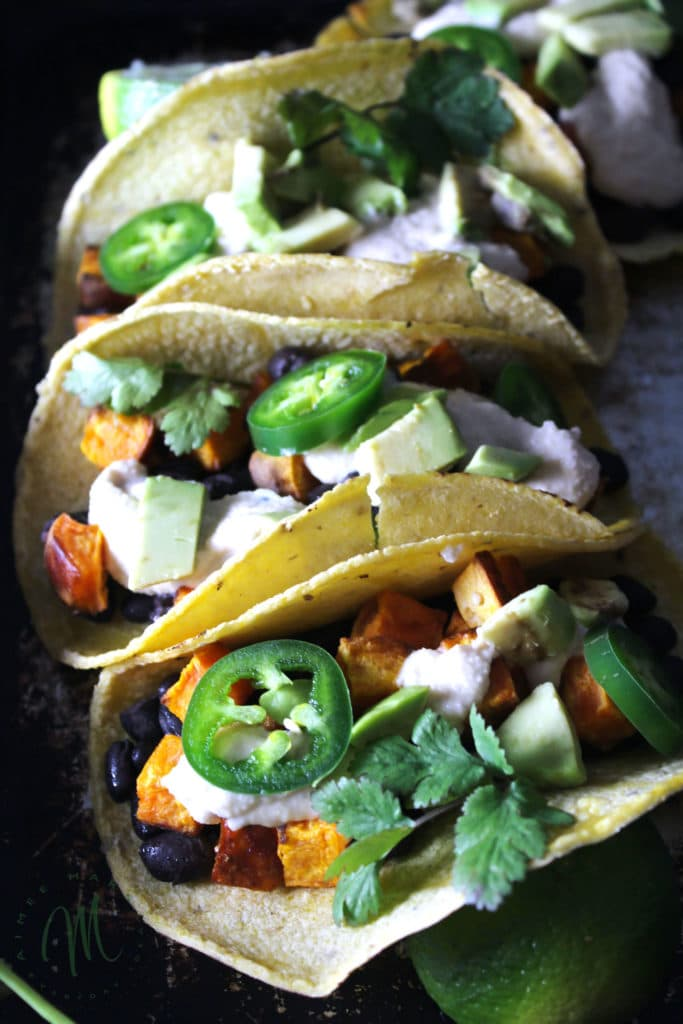 & Sweet Potato Tacos with Dairy Free Lime Cream are a meatless, easy ...