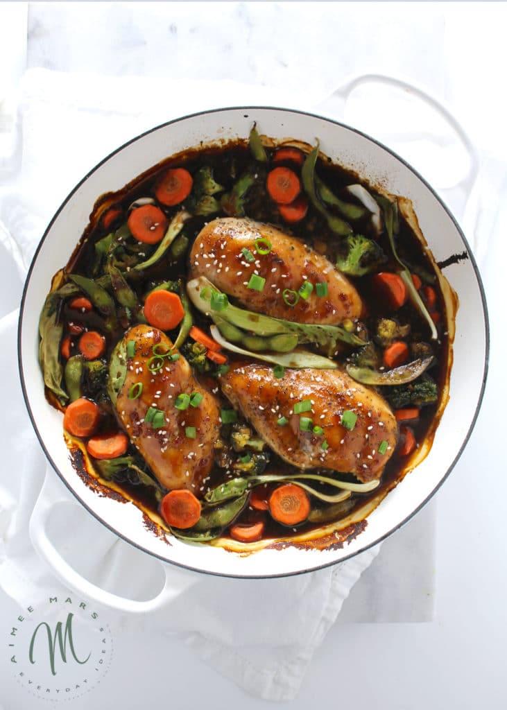 easy skillet chicken teriyaki in white skillet