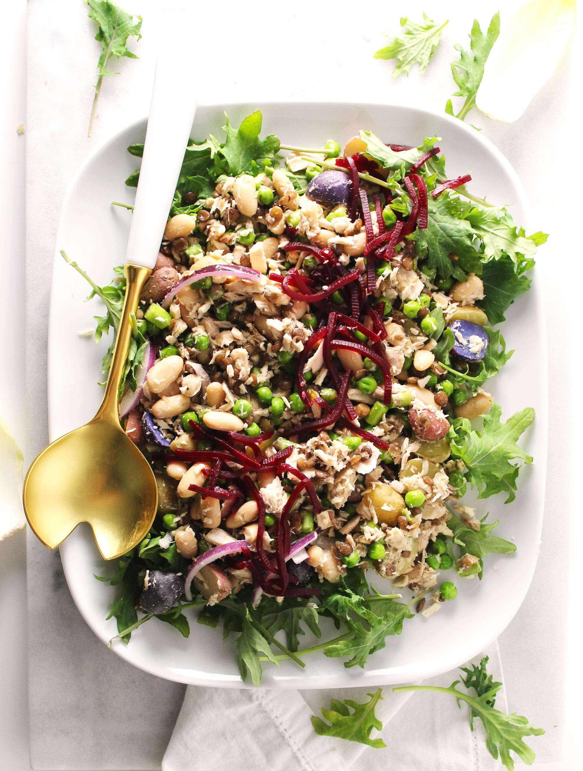 tuna salad on white plate