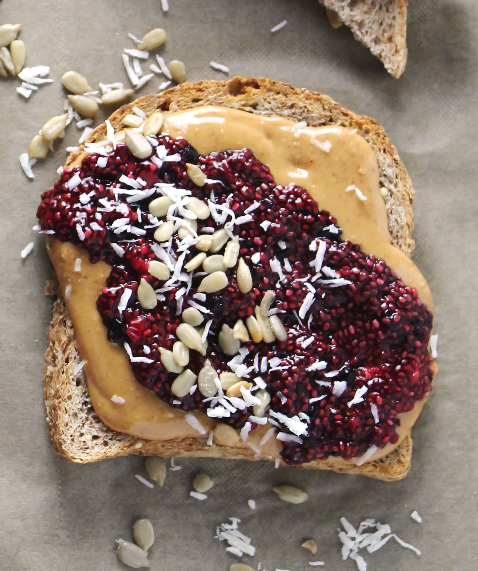 mixed berry chia seed peanut butter toasts