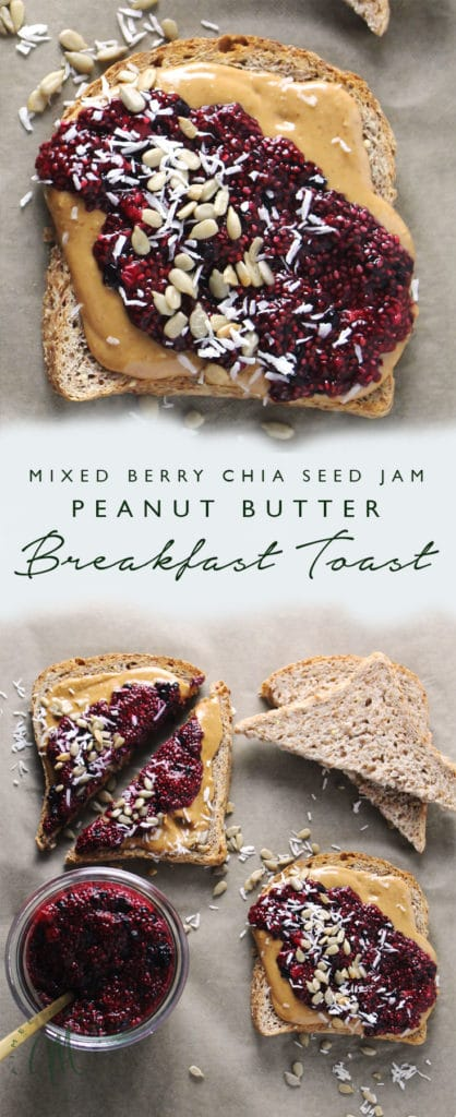 This simple recipe for Mixed Berry Chia Seed Jam Peanut Butter Breakfast Toasts will leave you satisfied and with plenty of jam for the week | via aimeemars.com | #ChiaSeedJam #BreafastToast #HomemadeJam