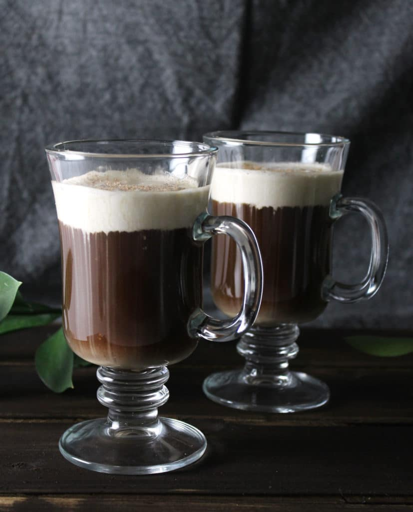The Traditional Irish Coffee with Coconut Cream is a dairy-free version of the Irish favorite and prepared how the Irish traditionally make it | via aimeemars.com | #IrishCoffee #StPatricksDayDrinks #CoconutCream