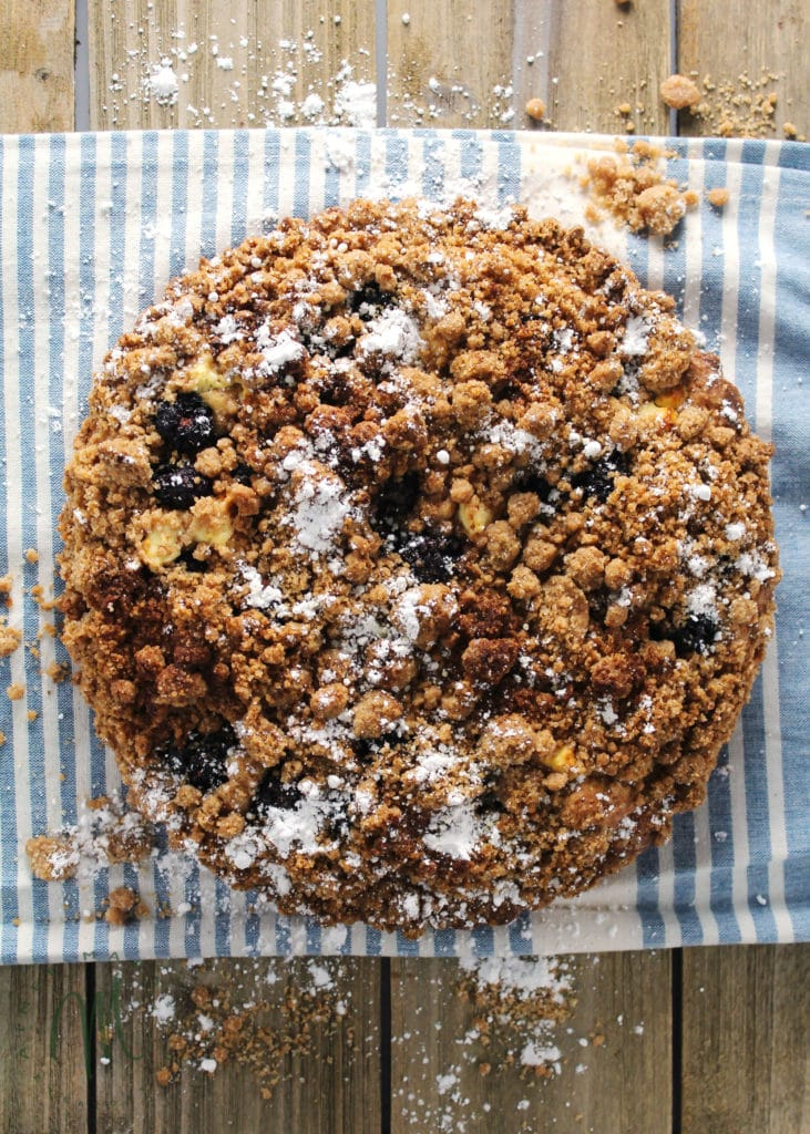 Blackberry Goat Cheese Crumble Cake is a perfect treat to have ready for when you're entertaining or having overnight guests   via aimeemars.com   #BlackberryCake #CrumbleCake #CoffeeCake