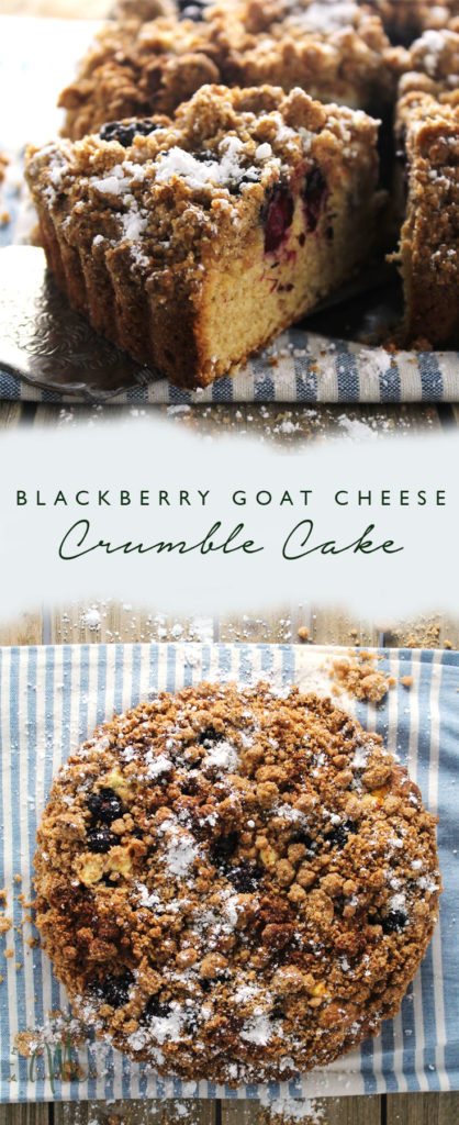 Blackberry Goat Cheese Crumble Cake is a perfect treat to have ready for when you're entertaining or having overnight guests | via aimeemars.com | #BlackberryCake #CrumbleCake #CoffeeCake