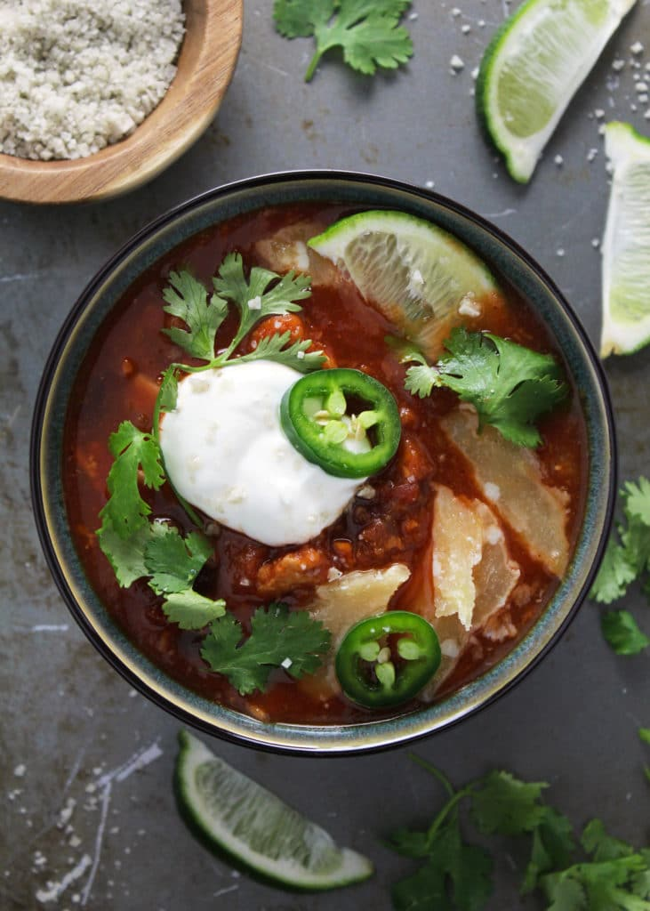 This Crockpot Sweet Potato Turkey Chili is slightly sweet and has a slight spice to it. The gluten-free dish is soul-soothing and great for meal prep | via aimeemars.com | #CrockpotChili #TurkeyChili #SweetPotatoChili