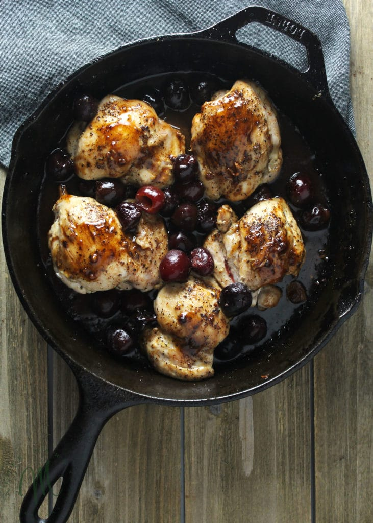 This easy skillet chicken dinner is a perfect clean eating meal you can make in less than 30 minutes and use to keep the whole family happy and full | via aimeemars.com | #SkilletChicken #30MinuteMeal #CherryReduction