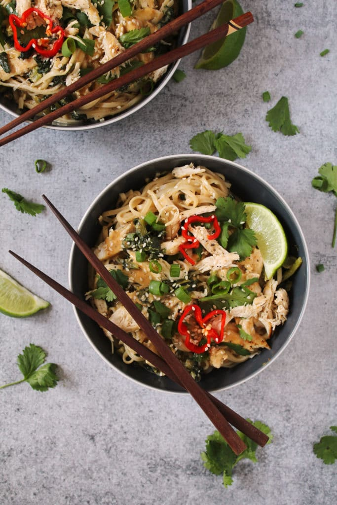 If you make this Gluten Free Thai Peanut Chicken Noodle Bowl you'll be sure to impress yourself and guests, plus you can enjoy eating an easy healthy meal | via aimeemars.com | #GlutenFree #PeanutChicken #NoodleBowl