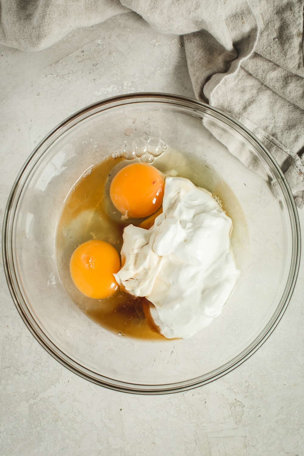 Sour Cream and Egg mixture for how-to steps