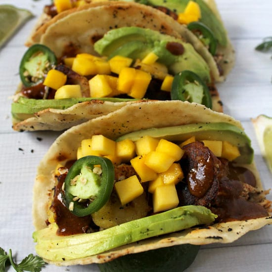 Jamaican Jerk Chicken Tacos with Mole and Fried Plantains