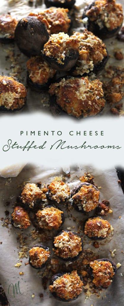 Pimento Cheese Stuffed Mushrooms are a unique take on stuffed mushrooms and are the perfect easy appetizer to prepare for guests   via aimeemars.com   #StuffedMushrooms #PimentoCheese #EasyAppetizer
