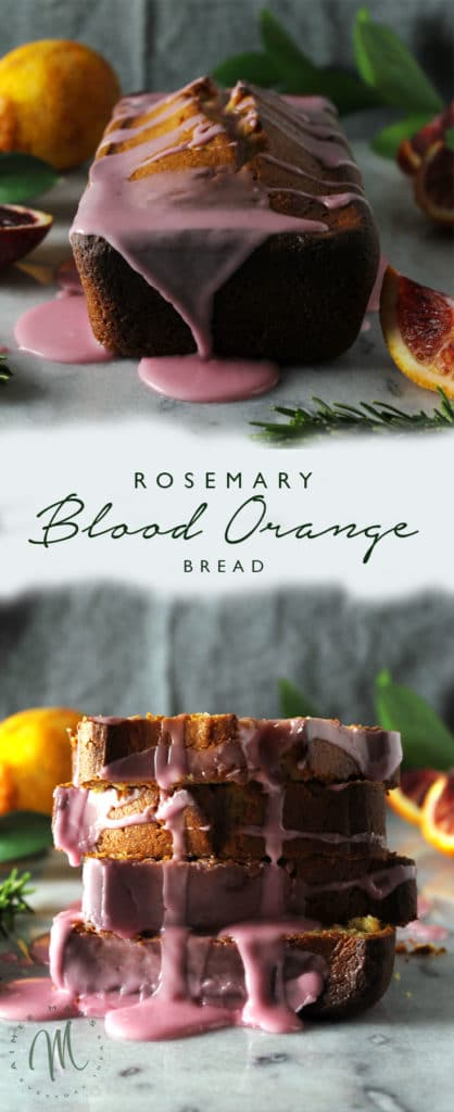 The Rosemary Blood Orange Bread is a unique combination of citrus and rosemary, which makes for a perfect spring inspired bread | via aimeemars.com | #QuickBread #BloodOrangeBread #RosemaryBread