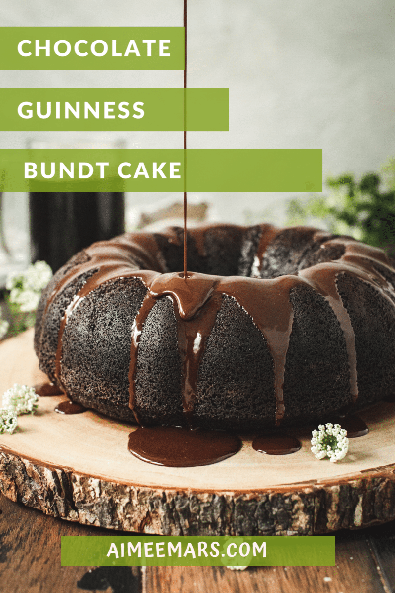 Guinness Chocolate Cake on a tree stump board.