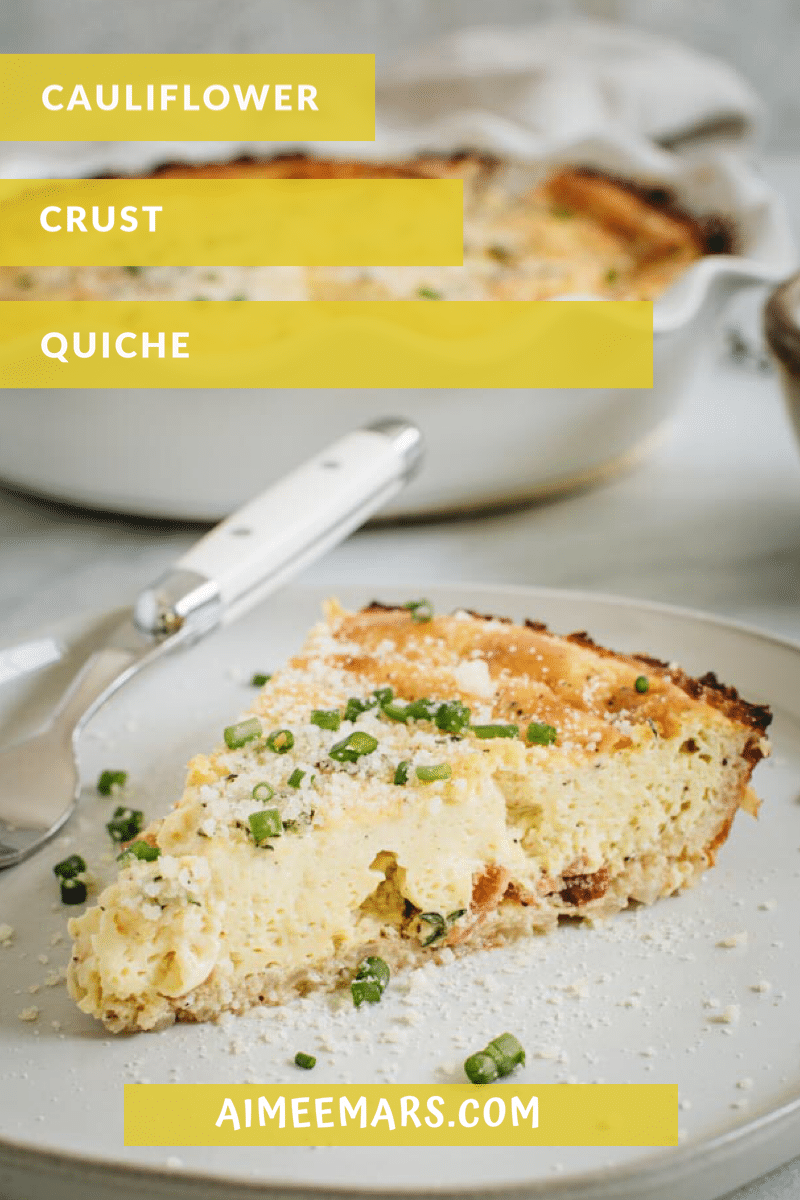 Yellow and white titled slice of quiche on white plate.