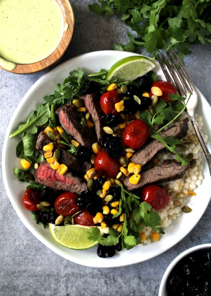 This Green Goddess Steak Salad Over Couscous can easily become your favorite so much that you'll likely crave it daily, or at least I did | via aimeemars.com | #GreenGoddess #SteakSalad #CleanEating