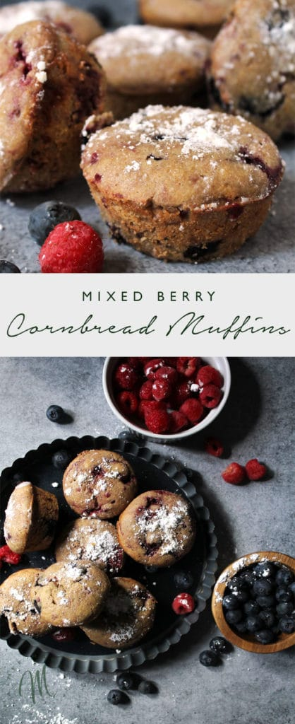 Mixed Berry Cornbread Muffins are simple and sweet. They're a slight twist on the traditional muffin and make for a perfect morning or snack time treat | via aimeemars.com | #CornbreadMuffins #MixedBerryMuffins #SweetCornbread