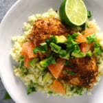 Harissa roasted chicken topped with grapefruit and served over cauliflower rice.
