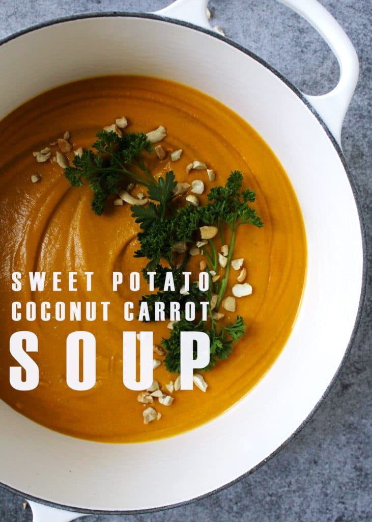 This creamy soup is packed full of healthy fats and nutrients for a perfectly well-balanced meal if you're eating Paleo, Whole 30 or Bulletproof | via @AimeeMarsLiving | #SweetPotatoSoup #CoconutCarrotSoup #Paleo #Bulletproof