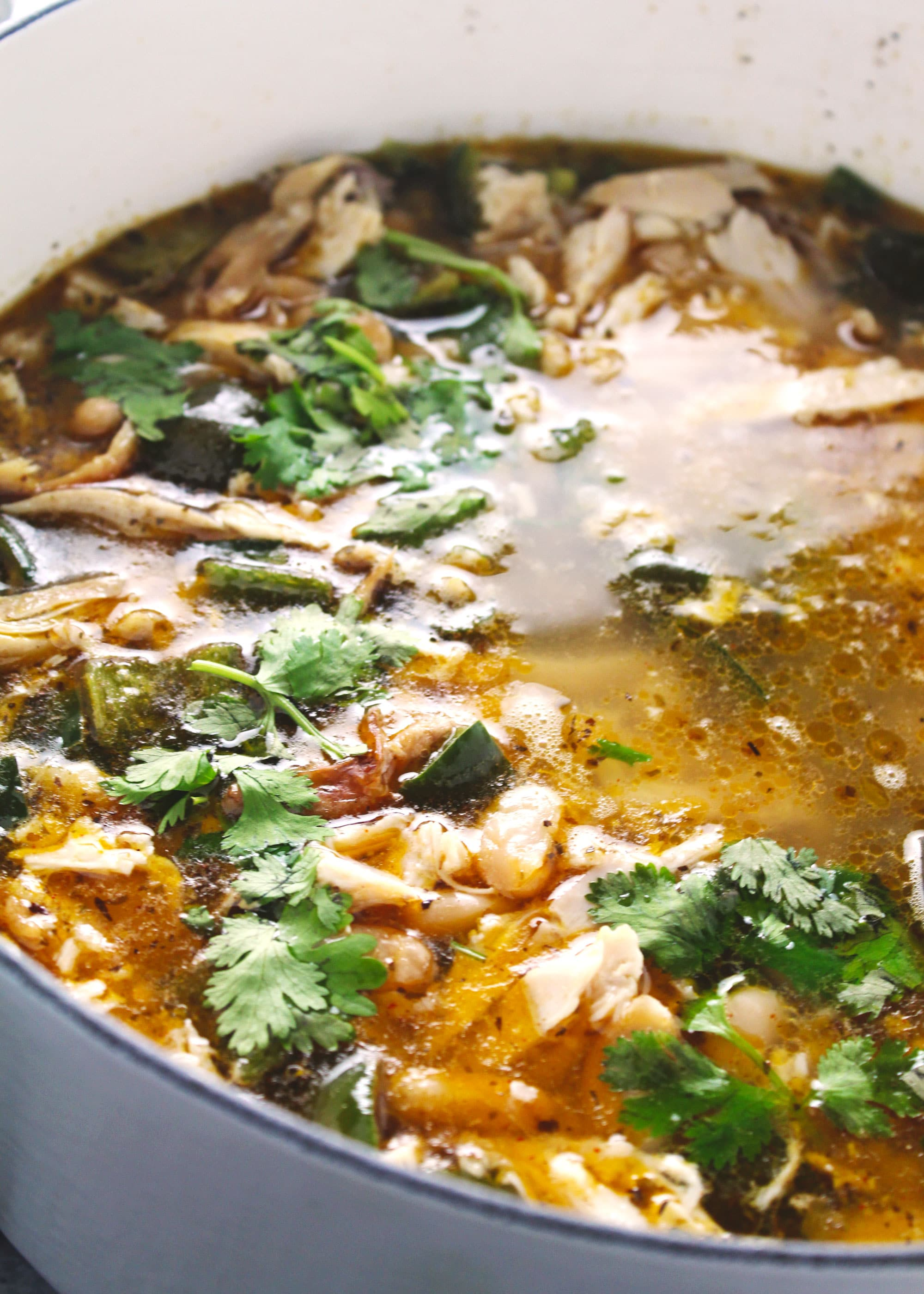 Chicken chili stew topped with fresh parsley in a large white pot.