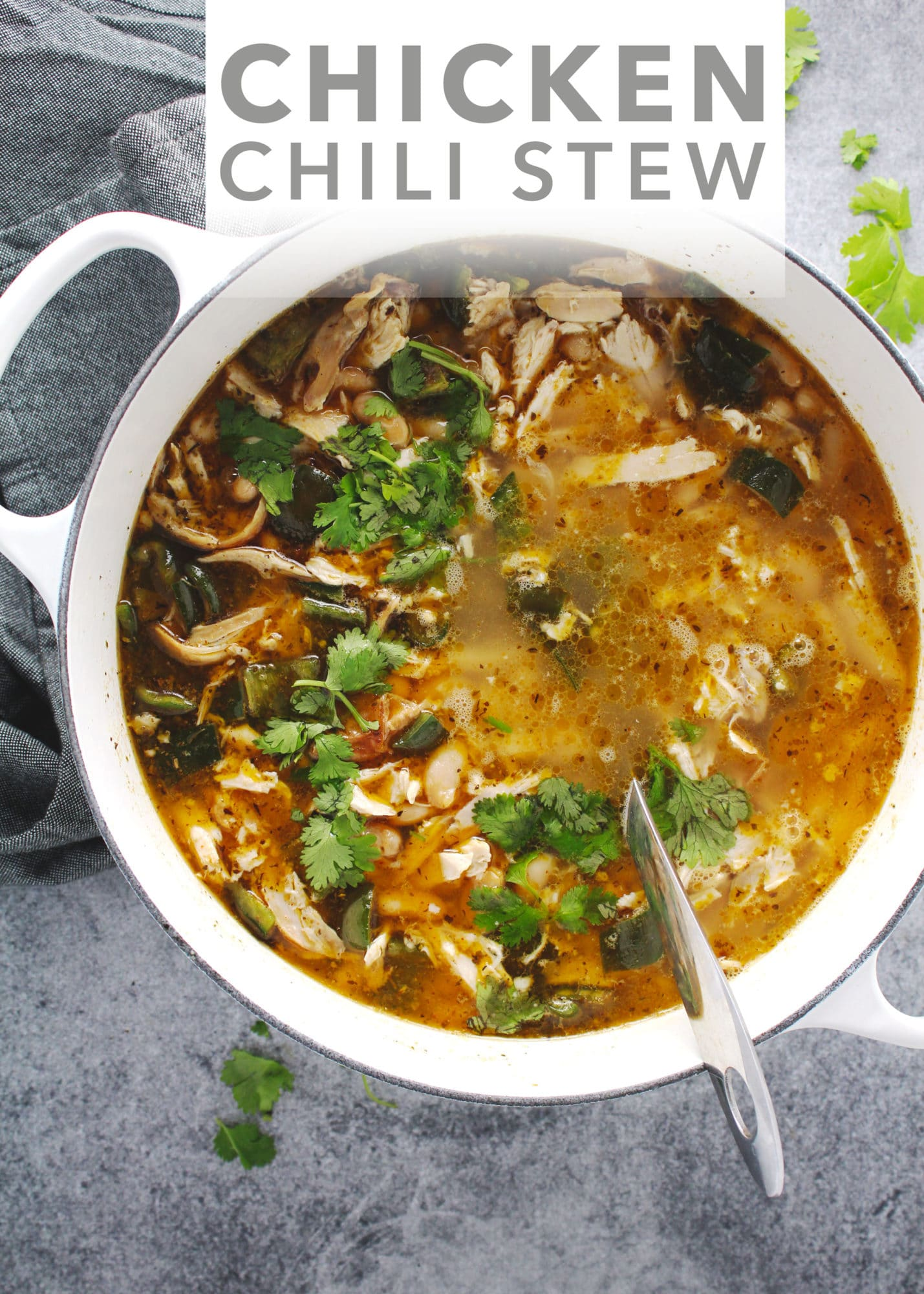 Make this into the low-sodium, gluten-free Chicken Chili Stew and then turn it into Nachos for a perfect weeknight meal that lasts all week long | via @AimeeMarsLiving | #ChickenStew #Chili #Nachos